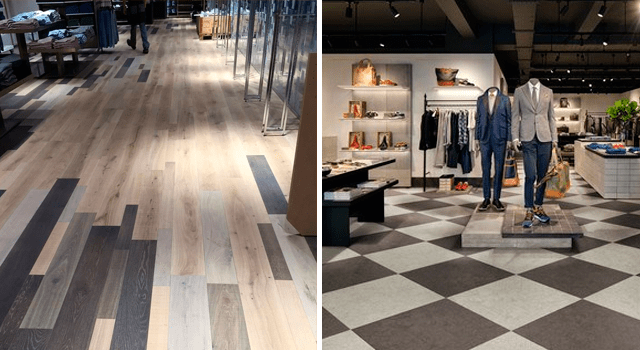Vinyl floors for commercial use or high traffic areas