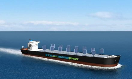 The first freight ship to sail using solar and wind power
