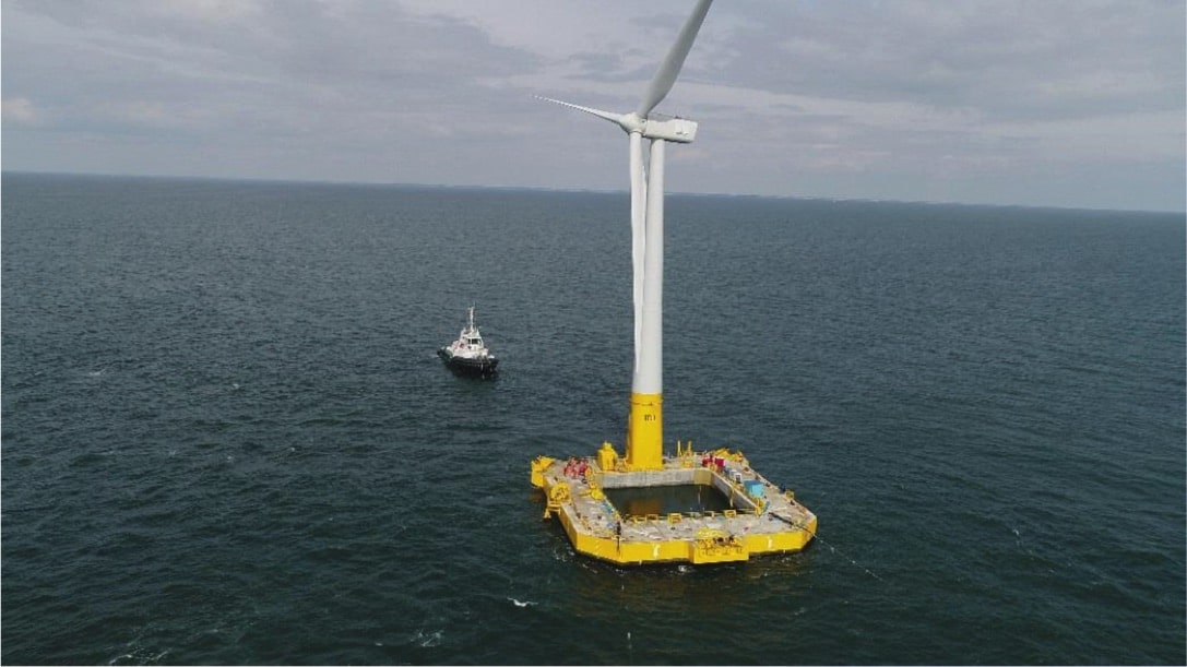 The first French floating turbine in operation, sufficient for 5,000 families