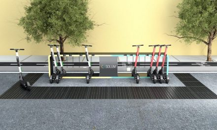 The charging station for electric scooters powered by solar energy